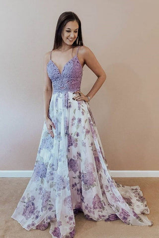Spaghetti Straps A-line Prom Dresses Lace Floral V Neck Purple Formal Dresses JS529