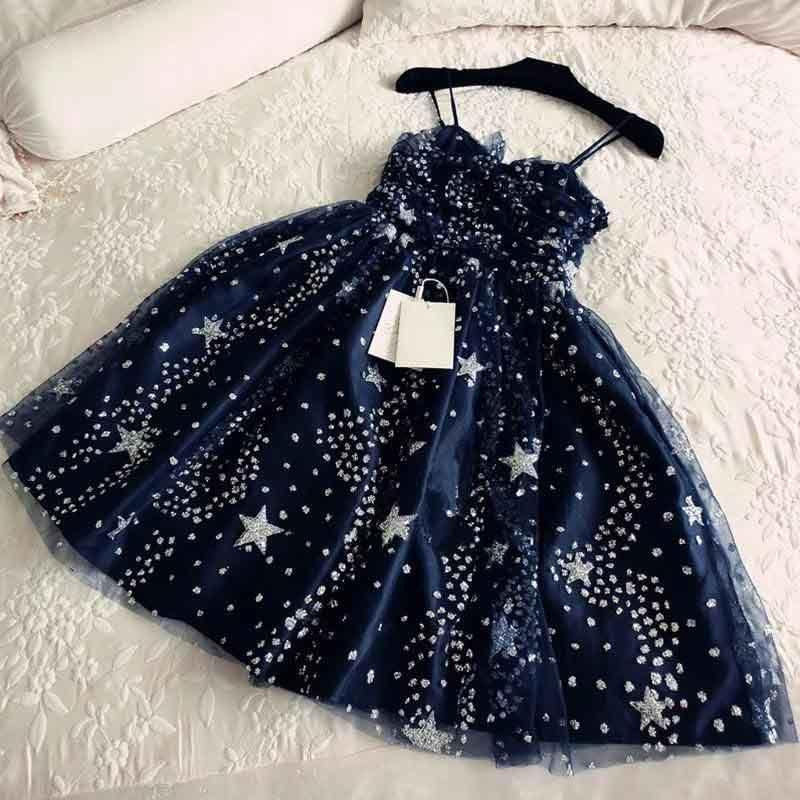 Spaghetti Straps Navy Blue Tulle Sweetheart Homecoming Dresses Short Prom Dresses JS755