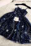 Spaghetti Straps Navy Blue Tulle Sweetheart Homecoming Dresses Short Prom Dresses SME755