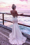 Spaghetti Straps V Neck Satin Prom Dresses Lace Criss Cross Mermaid Evening Dresses JS524