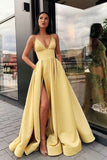 A Line Spaghetti Straps V Neck Yellow Prom Dresses with Pockets High Slit Satin Formal Dress SMEP1131