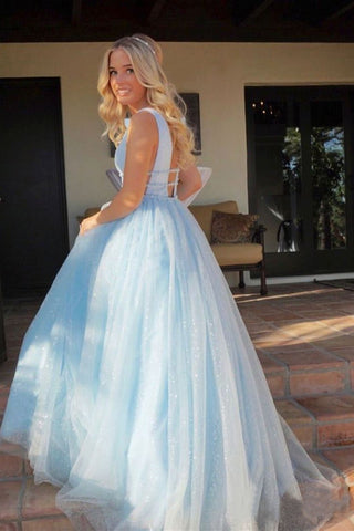 Sparkly Deep V Neck Long Beaded Backless Light Blue Prom Dresses Cheap Party Dress SME982