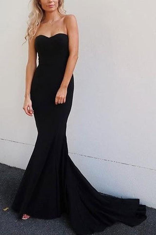 Strapless Mermaid Prom Gowns with Sweep Train Navy Blue Backless Prom Dresses SME488