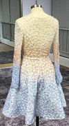 Stunning Beaded Sequins Long Sleeve V Neck Homecoming Dresses Short Prom Dresses H1083