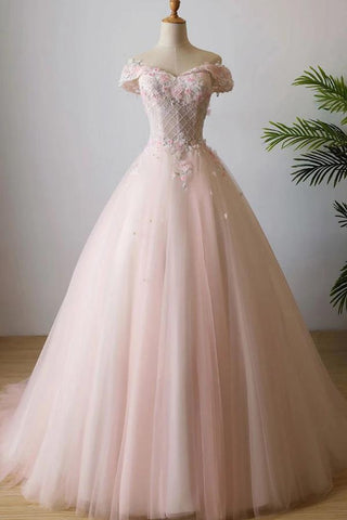 Stunning Off the Shoulder Pink Ball Gown Quinceanera Dresses Tulle 3D Flowers Prom Dresses SME1142