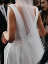 Stunning V-Neck Satin Straps Ivory Wedding Dresses A-line Bridal Gowns with Pockets V Back W1102