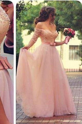 Off Shoulder Half Sleeves Pink Long Party Sweetheart Sash Bow Beads Pearls Prom Dresses JS720
