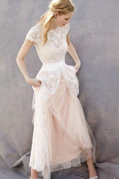 Lovely Blush Pink Tulle Lace Bridal Dress Cap Sleeves Sleeveless Wedding Dress JS35