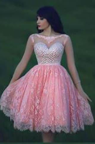 Lace Pink Homecoming Dress Lace Short Prom Dress Country Homecoming Gowns JS903