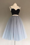 Two Pieces Black and Silver Short Tulle Sweetheart Spaghetti Strap Homecoming Dress JS200