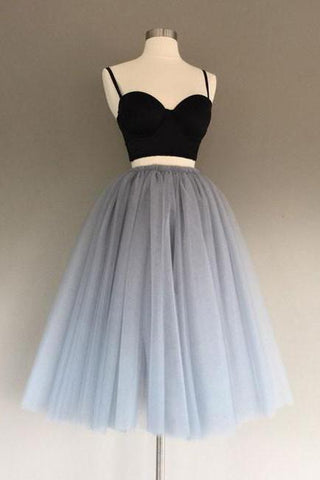 Two Pieces Black and Silver Short Tulle Sweetheart Spaghetti Strap Homecoming Dress SME200