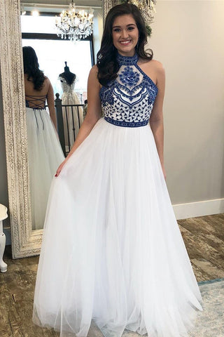 Unique A Line Halter White Tulle Prom Dresses Long Cheap Evening Dresses JS712