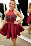 Unique Halter Beads Satin Burgundy Backless Homecoming Dresses Sweet 16 Dresses H1275