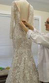 Unique Long Sleeve Mermaid Lace Wedding Dresses with Beads Wedding Gowns JS828