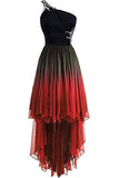 Unique One Shoulder Ombre Black and Red High Low Homecoming Dresses with Beads H1040
