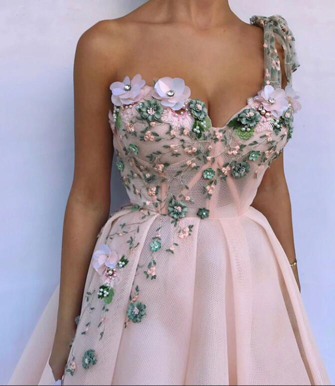 Unique One Shoulder Pink Prom Dresses Appliques Sweetheart Long Party Dresses JS568