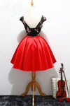 Unique Red Satin Cap Sleeves Scoop Belt Flowers Homecoming Dresses with Lace up H1233