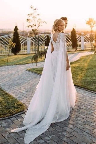 Unique Scoop Tulle Beads Chiffon Ivory V Back Long Wedding Dresses Beach Wedding Gowns SME1077