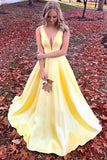 Unique Yellow Satin Prom Dresses with V Neck V Back Straps Long Formal Dresses JS486