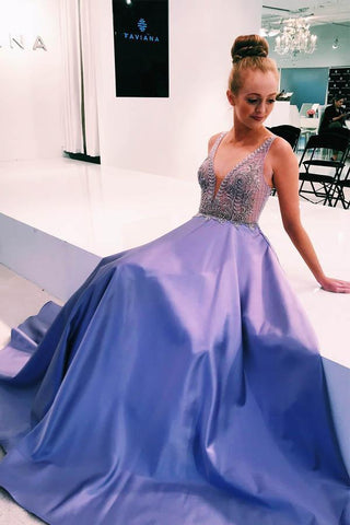 V-Neck Lavender Satin Long Prom Dresses Formal Dress with Beads Top Sleeveless JS632