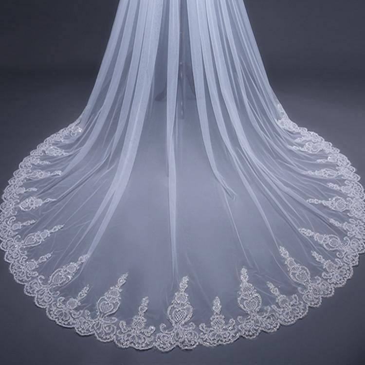 Cathedral Tulle Lace Ivory Wedding Veil Bridal Veil Wedding Veil JS288