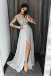 Stylish A-Line V-Neck Long Sleeves Split Front Gray Chiffon Long Prom Dresses JS327