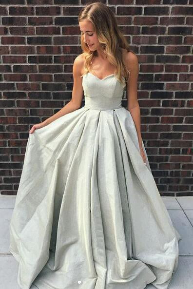 Princess A Line Strapless Sweetheart Lace up Satin Sleeveless Long Prom Dresses JS901