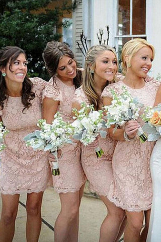 Sheath Crew Short Cap Sleeves High Neck Pink Lace Open Back Prom Bridesmaid Dresses SME714