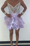 V Neck Purple Strapless Homecoming Dresses Satin Sequins Above Knee Short Prom Dress SME1096