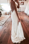 V Neck Spaghetti Straps Backless Lace Boho Wedding Dress With Split Mermaid Bridal Dress JS999