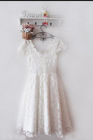 Vintage Ivory Short Lace Short Prom Homecoming Dresses Scoop Appliques Bridesmaid Dress SME1160