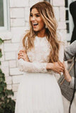 Vintage Long Sleeve Ivory Lace Chiffon Scoop Wedding Dresses Country Wedding Gowns W1050
