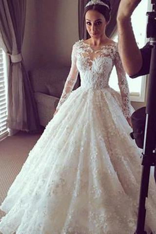 Modest Tulle Country Lace Long Sleeve Ball Gown Sheer Back Scoop Appliques Wedding Dress JS75
