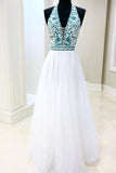 White Chiffon Long Prom Dress V Neck Halter With Blue Beaded Bodice Dress Evening Dress P1031