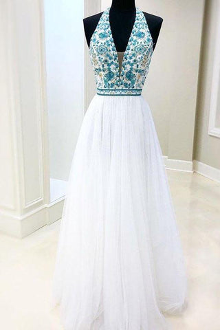 White Chiffon Long Prom Dress V Neck Halter With Blue Beaded Bodice Dress Evening Dress SME1031