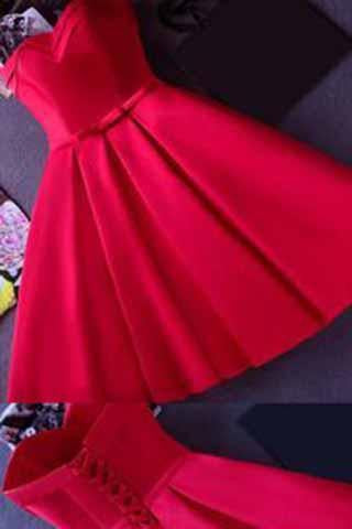 Strapless Red Knee-length Short Ribbon Prom Dress Homecoming Dress SME926