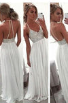 White Chiffon Sequin Long Prom Dress For Teens Backless Long Prom Dresses Wedding Dress JS96