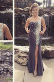 Mermaid New Style Grey Prom Dresses Sexy Beading Evening Gown Elegant Party Gowns JS167