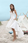 Spaghetti Straps V Neck Long High Low Ivory Homecoming Dress with Pockets SME216