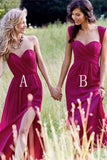 Red Cheap Chiffon Floor Length Side Split Long Sweetheart Sleeveless Bridesmaid Dress JS351