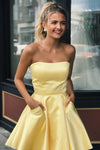 Yellow Satin Strapless Short Prom Dresses with Pockets Simple Homecoming Dresses H1224