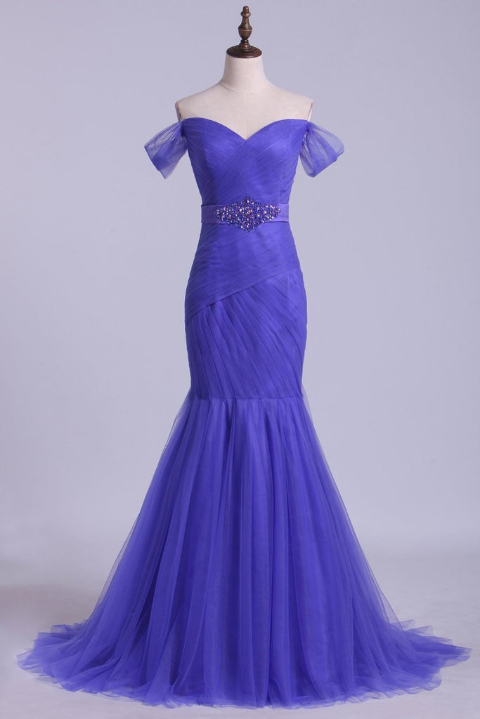2021 Off The Shoulder Prom Dresses Trumpet Floor Length With Beading