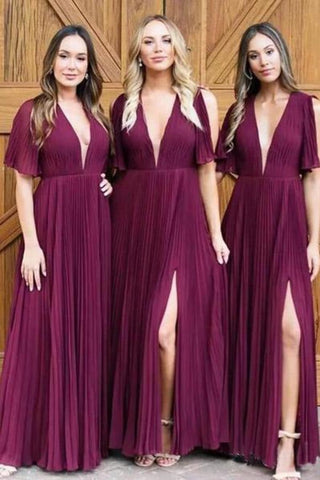 Simple Deep V Neck Short Sleeve Side Slit Long Bridesmaid Dresses With