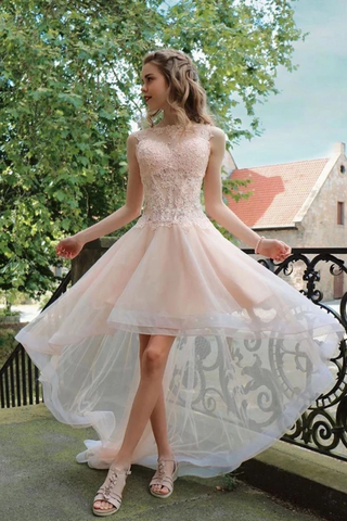 High Low Sleeveless Tulle Prom Dress With Appliques Party