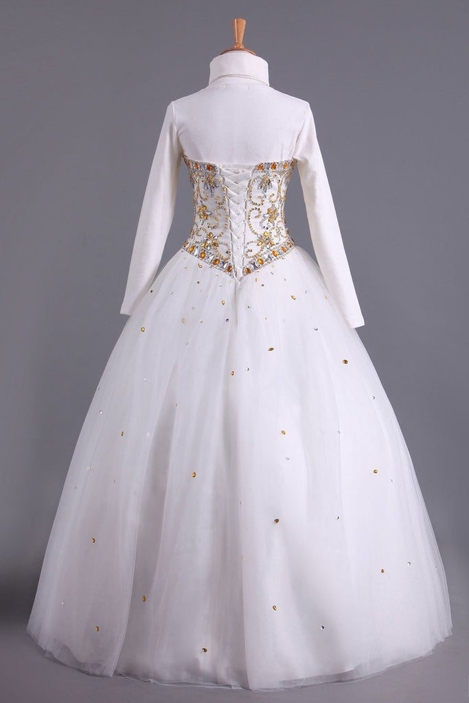 2020 Musilim Quinceanera Dresses Sweetheart A Line With Beads Floor Length