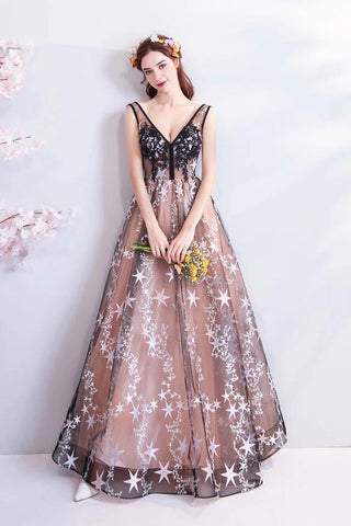 Princess A Line V Neck Applique Prom Dresses with Stars, Lace up Evening Dresses SME15286
