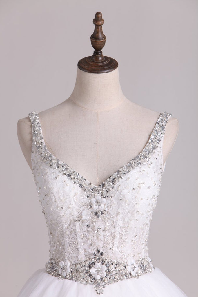 Wedding Dresses Straps With Applique And Beads Tulle A