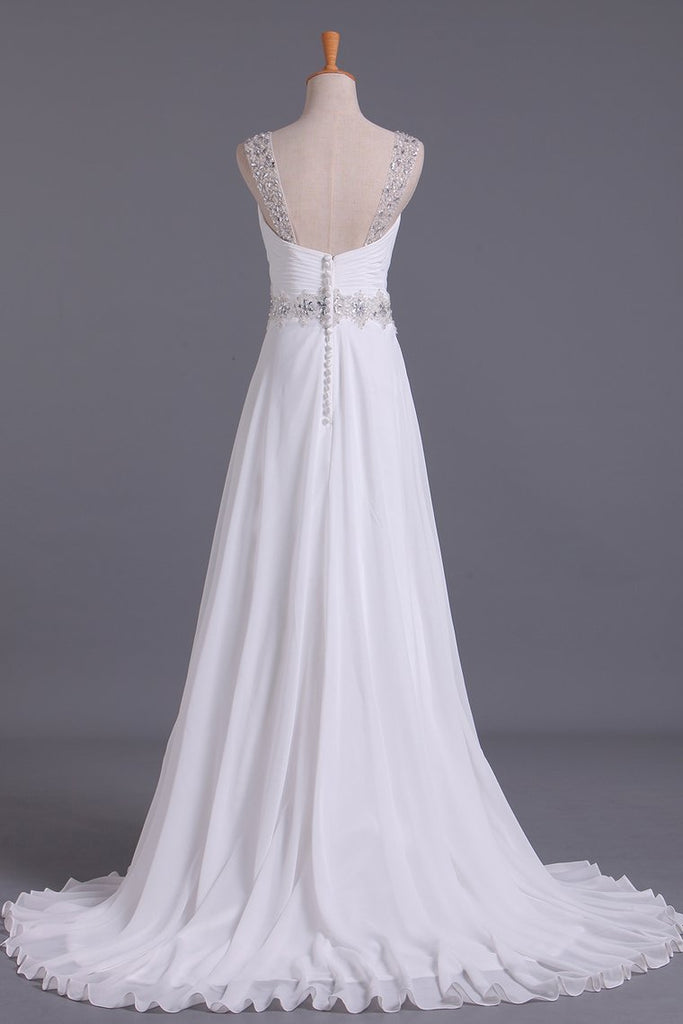 White Wedding Dress Sweetheart A Line Pleated Bodice With Detachable Straps Beaded