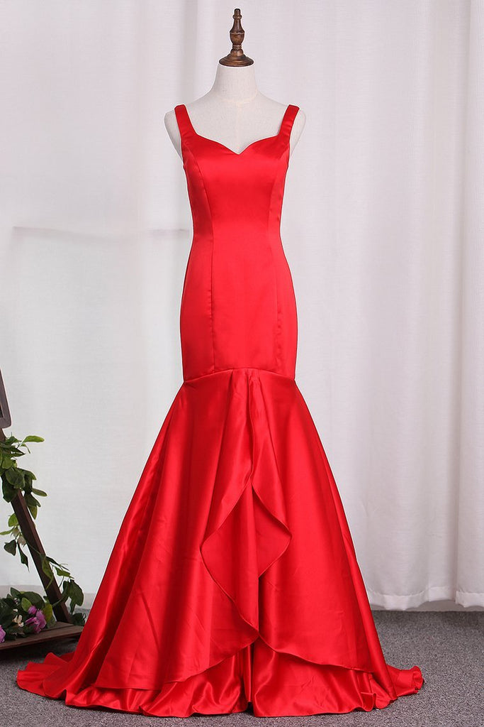 2019 Satin Mermaid Straps Evening Dresses Sweep Train