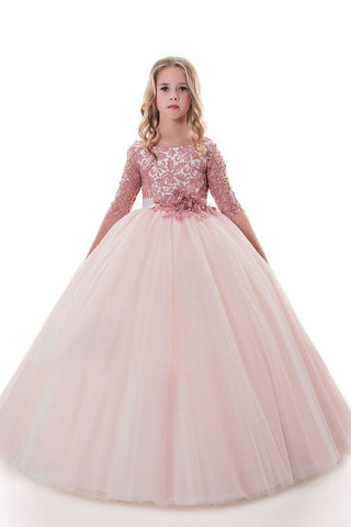 Tulle Scoop Flower Girl Dresses Ball Gown Mid-Length Sleeves